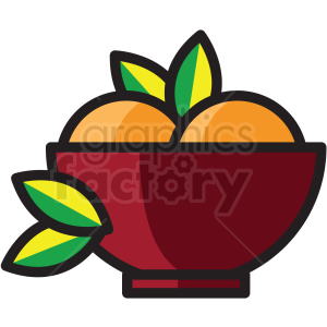 bowl of fruit vector icon clipart . Royalty.