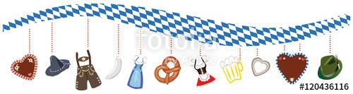 Bayerisches Rautenmuster in Welle mit typischen Oktoberfest.