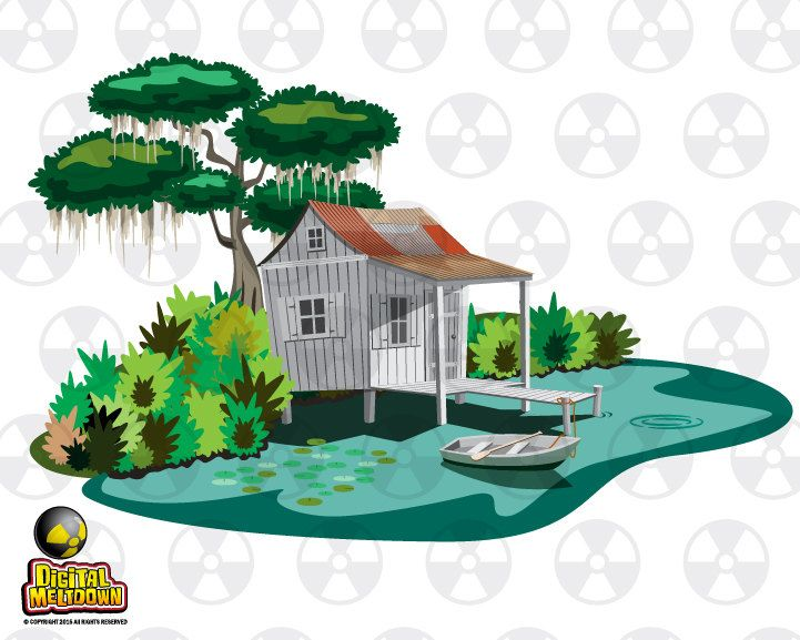 Louisiana Vector Clipart, Swamp Cabin with Bayou and Boat.