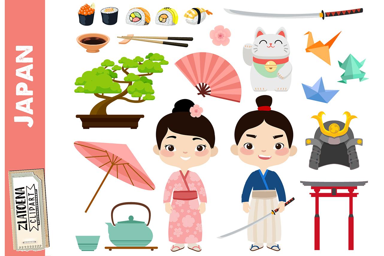 Japan clipart Japanese clip art Geisha Samurai clipart Asia.