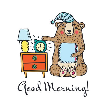 Good morning card with teddy bea Clipart Image.