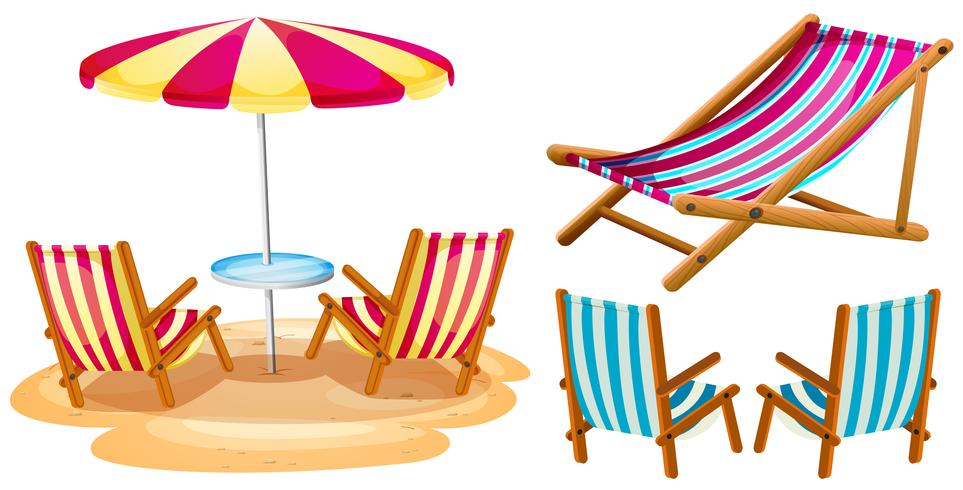 Beach chairs and umbrella.
