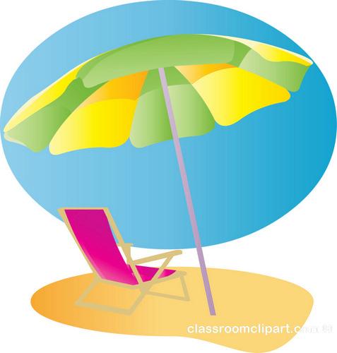 Beach chair and umbrella free clipart.