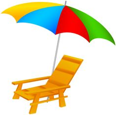 Beach Umbrella and Chairs PNG Clip Art Image.