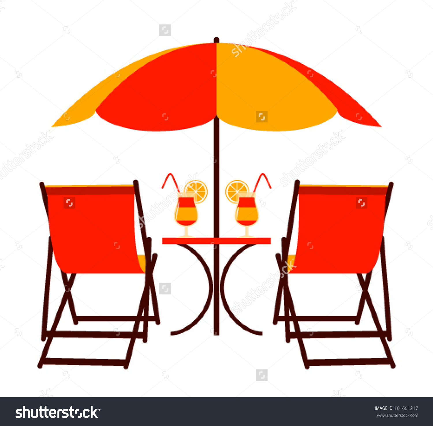 Vector Deck Chairs Under Beach Umbrella Stock Vector 101601217.