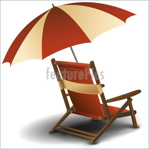Beach Chair Umbrella Clipart.