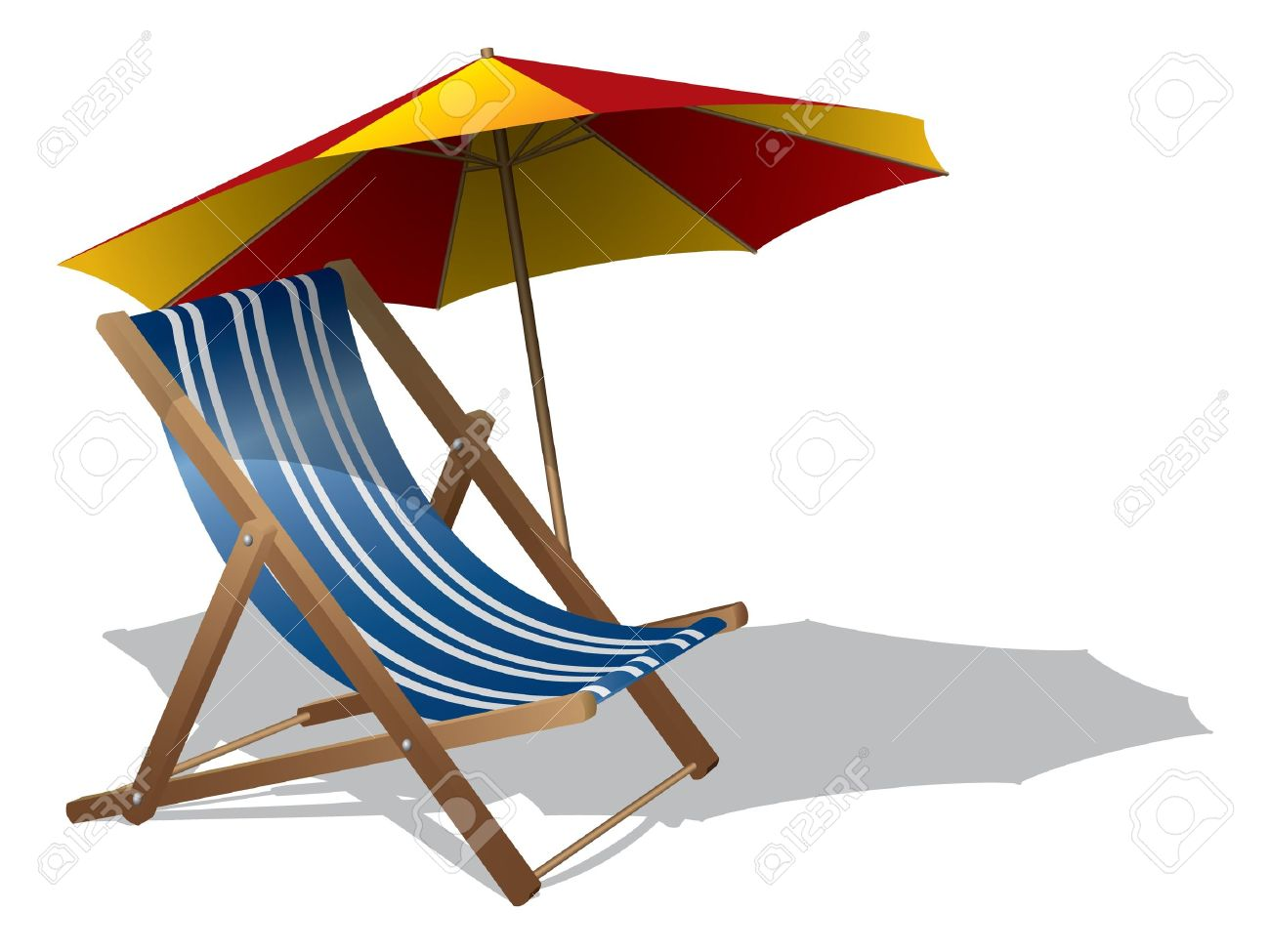 Beach Chair With Umbrella Royalty Free Cliparts, Vectors, And.