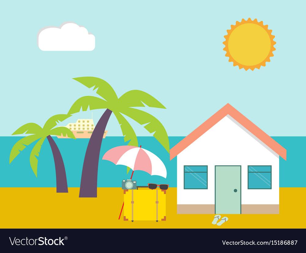 Summer beach beach house on palms and sea.