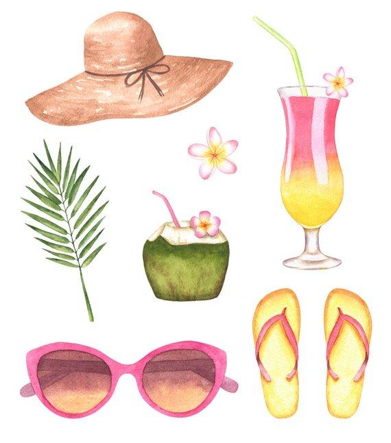 Beach Clipart,Watercolor Clipart,Summer Watercolor Clipart.