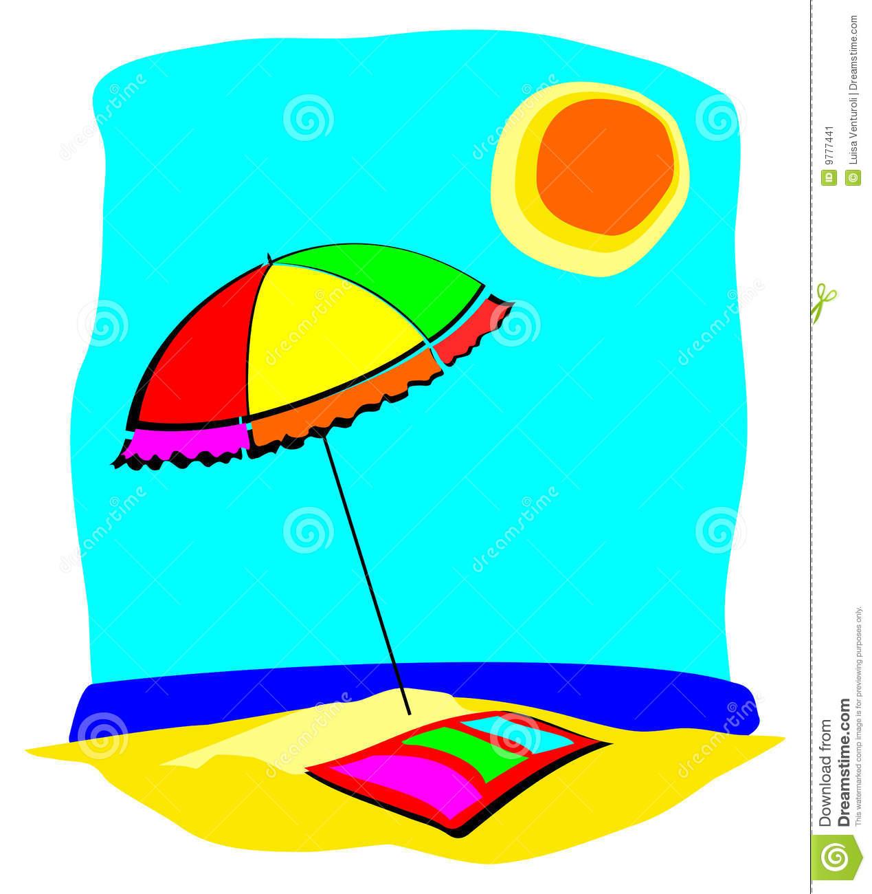 Beach Umbrella And Towel Stock Image.