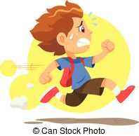 Kid running hurry because he late to go to school Clipart.