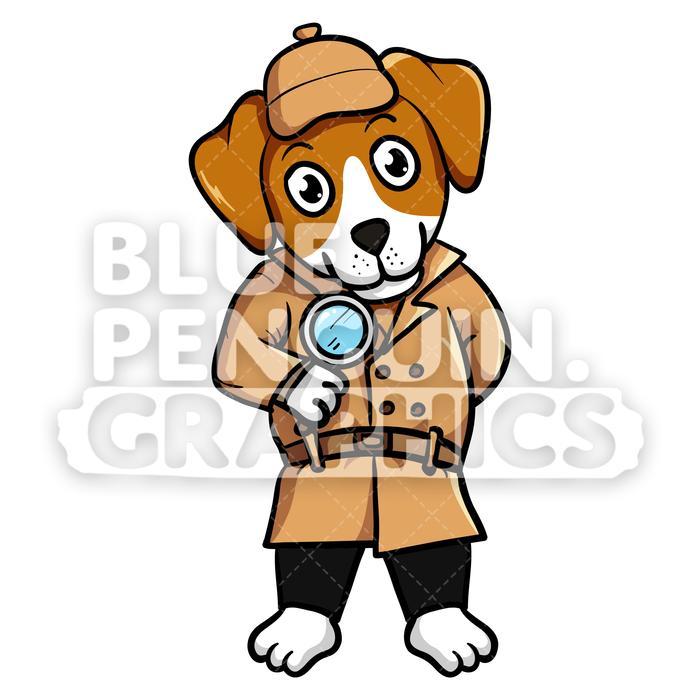 Beagle Dog Detective Vector Cartoon Clipart.