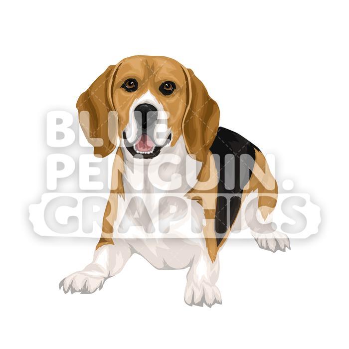 Beagle Dog version 4 Vector Cartoon Clipart Illustration.