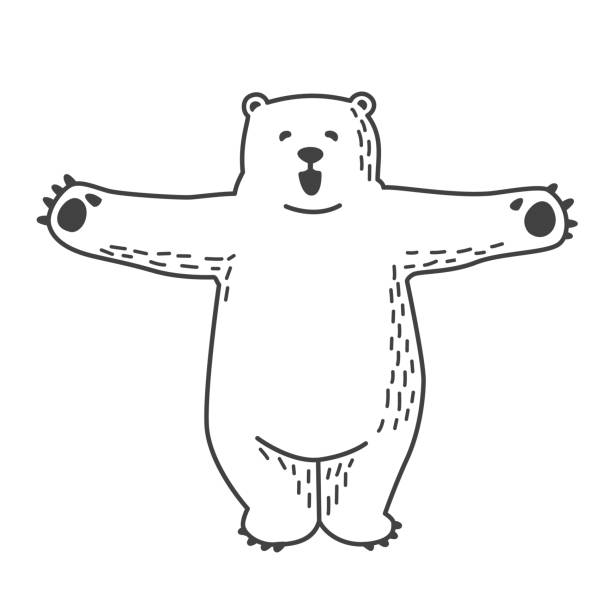 Bear Polar Bear Hug doodle vector illustration » Clipart Station.