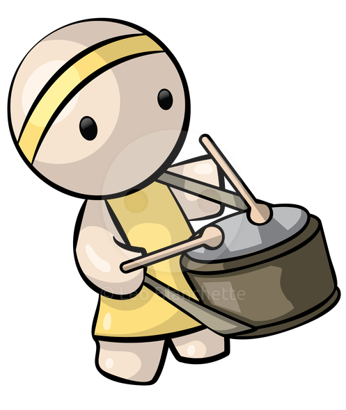 Clipart image of beating a drum in a parade.
