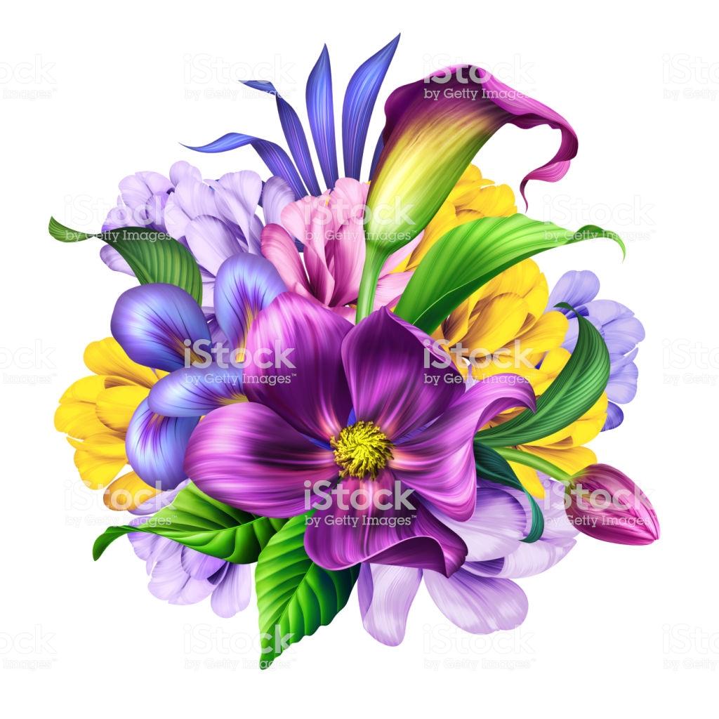 Botanical Illustration Beautiful Flowers Bouquet Floral Arrangement.
