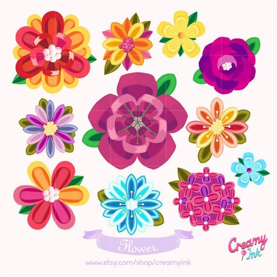 Beautiful Flower Digital Vector Clip art / Floral Digital Clipart.