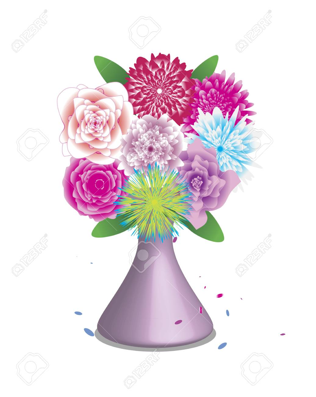 bouquet of beautiful flowers isolated on white background.Vector...