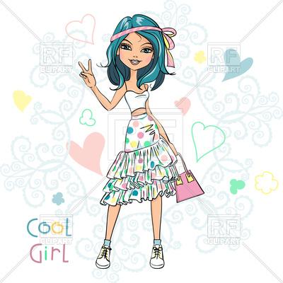 Cute beautiful girl in summer t.