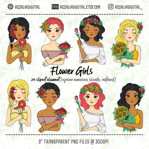 African American flower girl clip art, blonde illustration, cute blonde irl  sticker, beautiful girl clipart, redhead girls sticker.