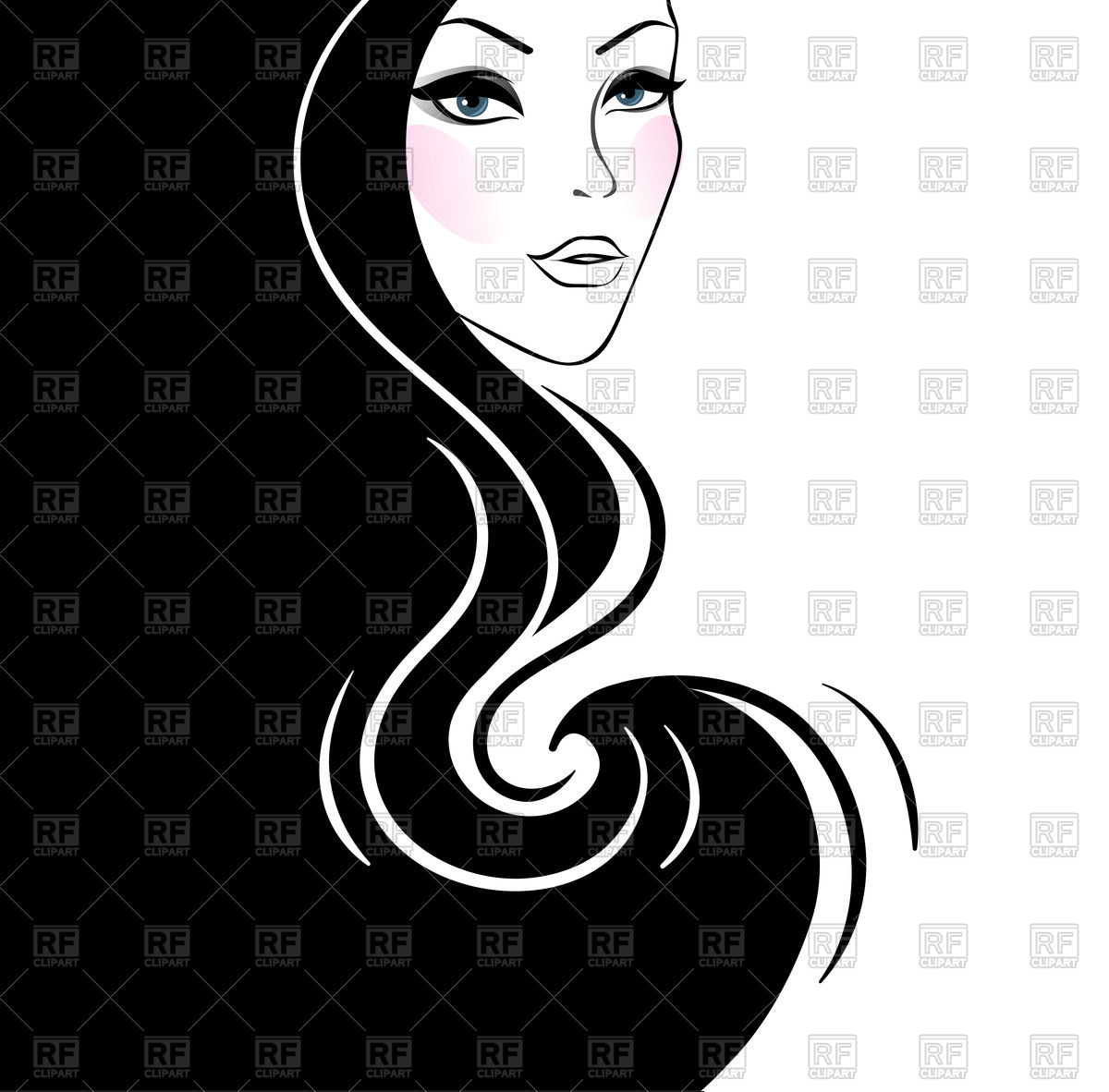 Beautiful woman's silhouette with long hair Stock Vector Image.