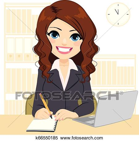 Beautiful Woman Working On Desk Clipart.
