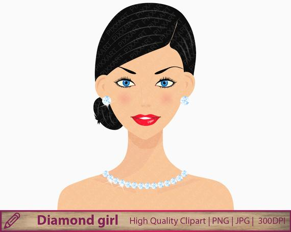 Diamonds girl clipart, woman clipart, beauty fashion, scrapbooking,  commercial use, digital instant download, png jpg 300dpi.