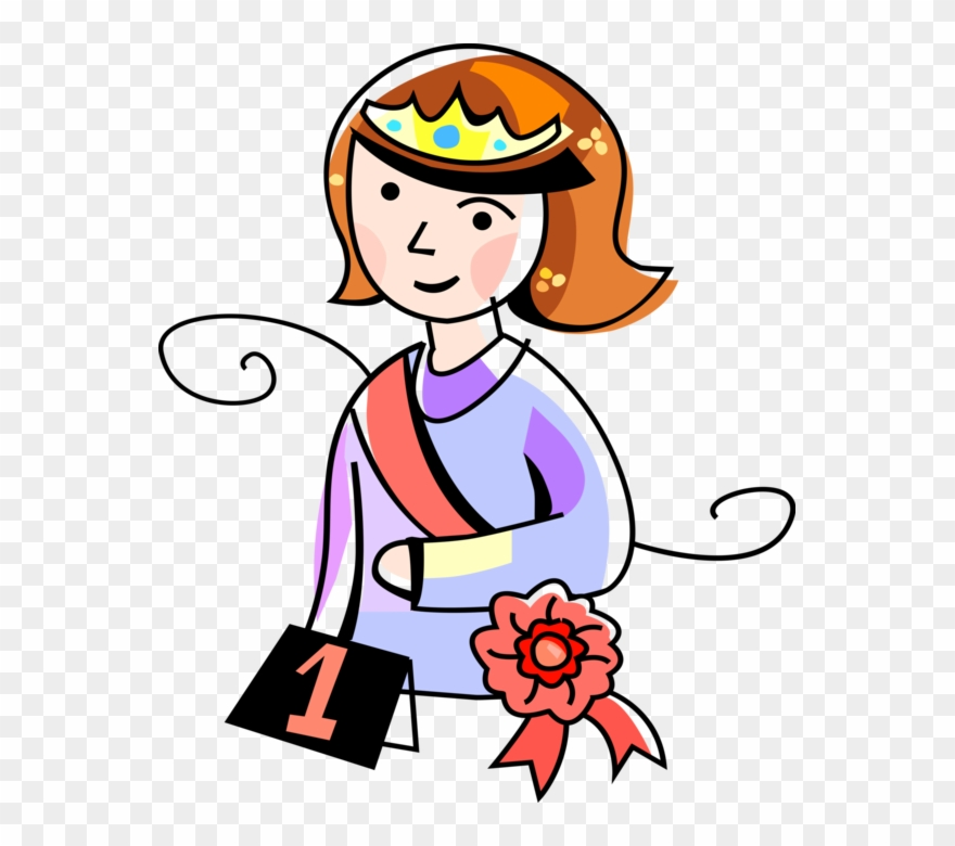 Vector Illustration Of Beauty Pageant Winner Queen.