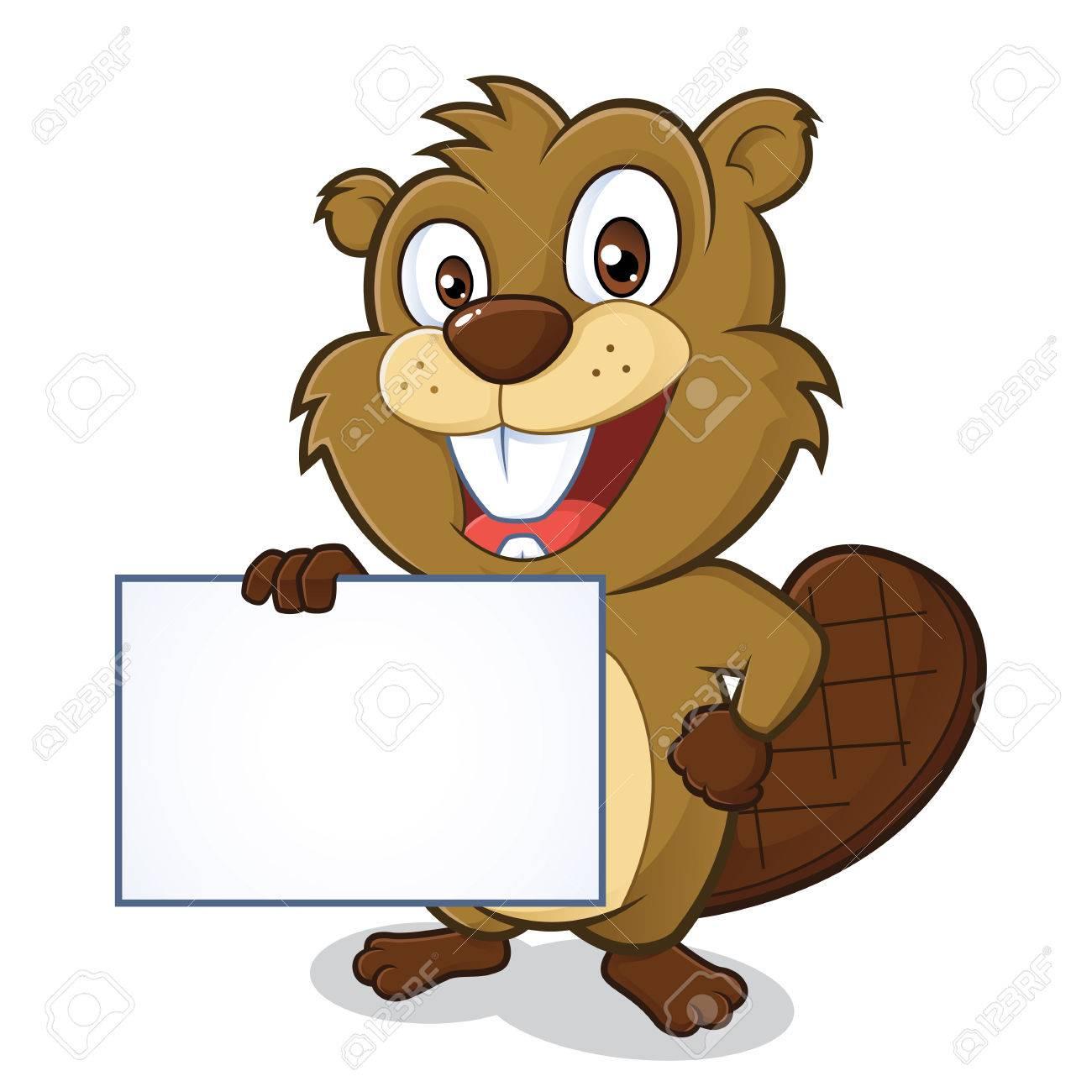 Beaver holding sign.