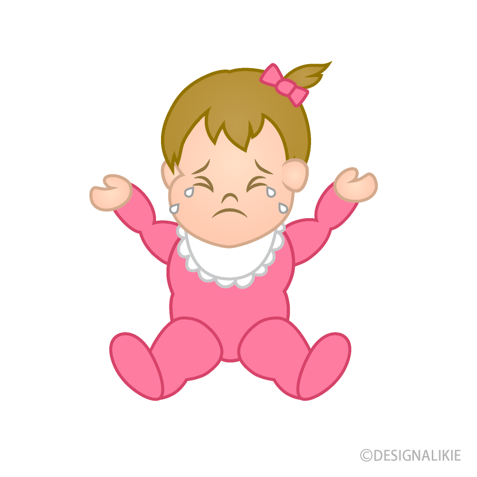 Free Crying Girl\'s Baby Clipart Image|Illustoon.