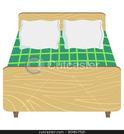 wooden double bed stock vector.