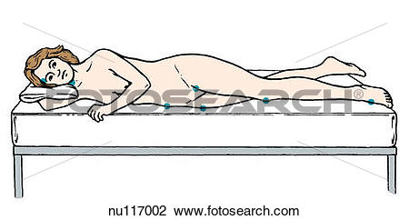 Clip Art of Lateral view of woman lying on right side on bed.