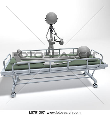 Stock Illustration of figure on a divan bed.