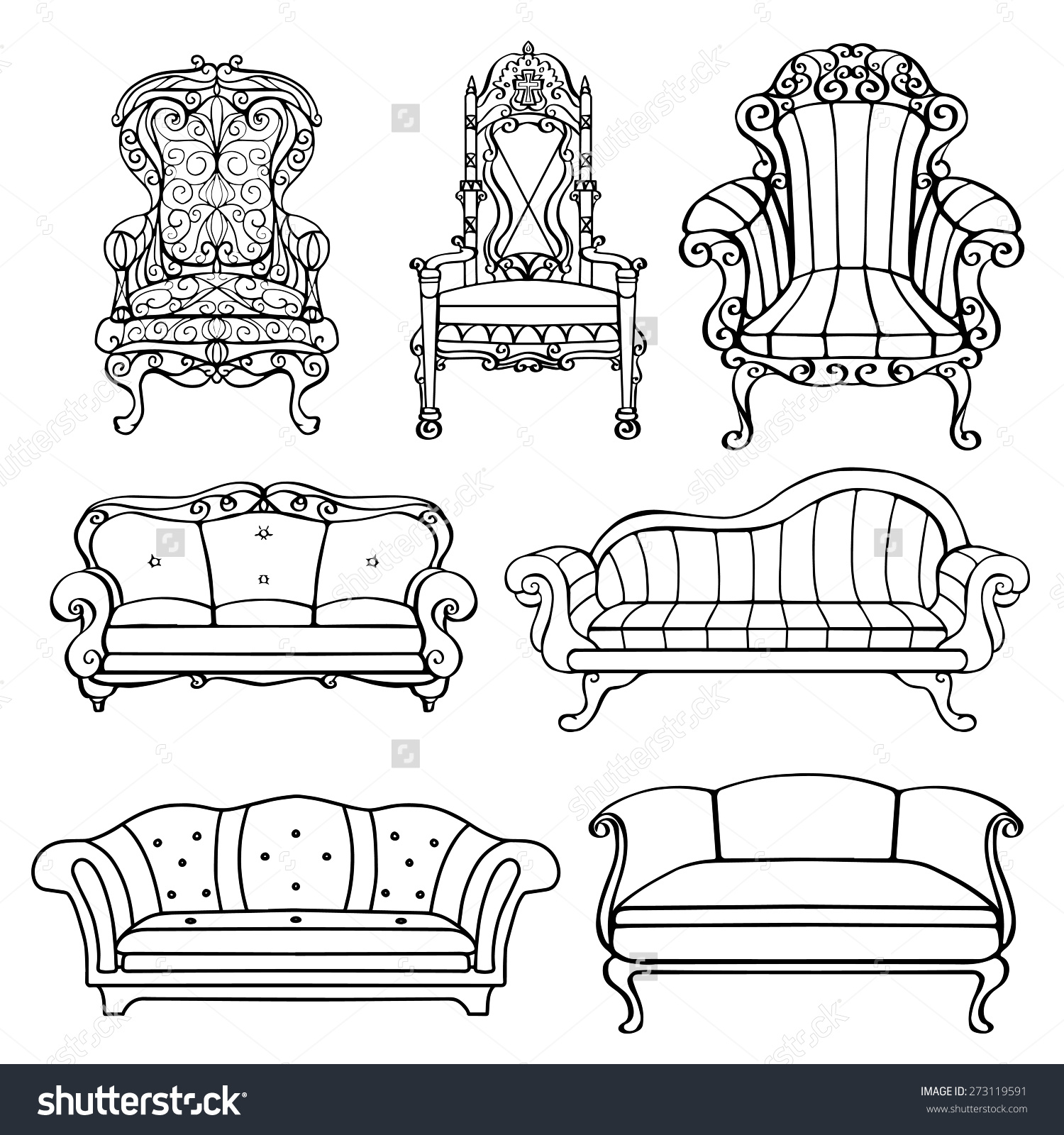 Furniture Chair Armchair Throne Sofa Couch Stock Vector 273119591.