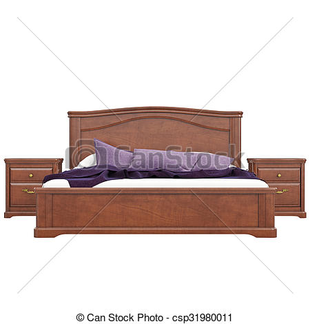 Clipart of Bed with bedside tables, front view. 3D graphic.
