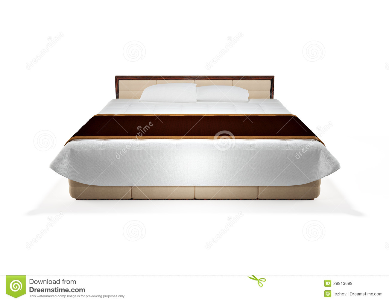 Modern Bed Isolated On White, Front View Royalty Free Stock Images.