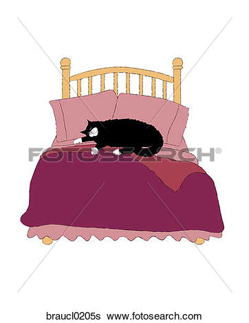 Stock Illustration of Couple Sleeping in Bed with Cat braucl0208s.
