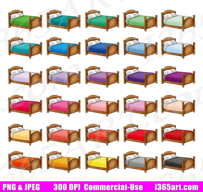 50% OFF Bed Clipart, Bedroom Clip Art, Bed Sheets and Pillow, House  Furniture, Planner Sticker Graphics, Scrapbooking, PNG, Commercial.