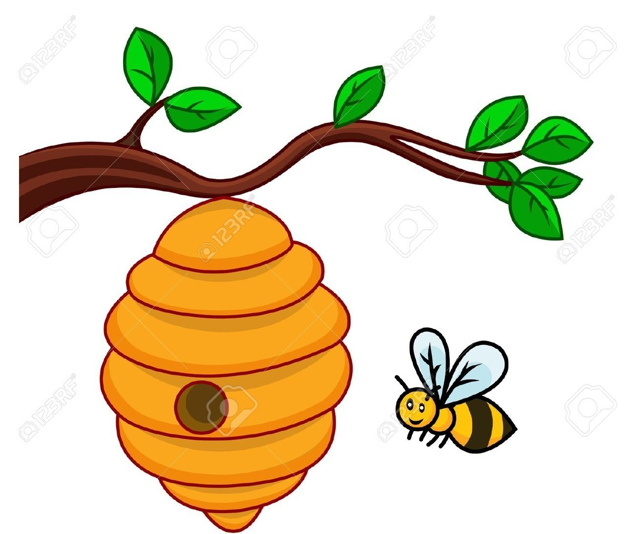 Beehive On A Tree Clipart.