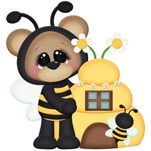 Bee bear with beehive.