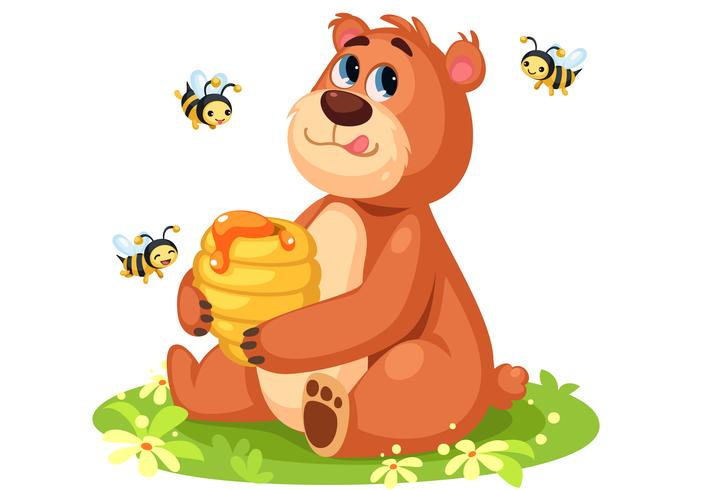 Cute bear cartoon holding a honey bee hive.
