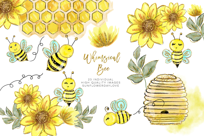 Watercolor bee clip art, Watercolor Honey Clipart, Bees Clipart Set,  Watercolor Sunflower Clipart, gold sunflower clip art, sticker planner.