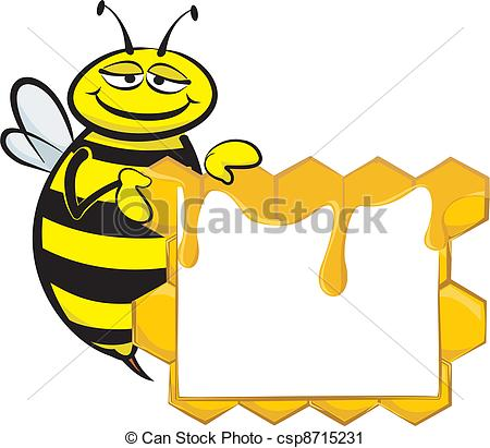 Vector Clip Art of bee and blank signboard.