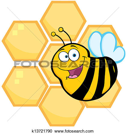 Clipart of Bees in the Hive k8874822.