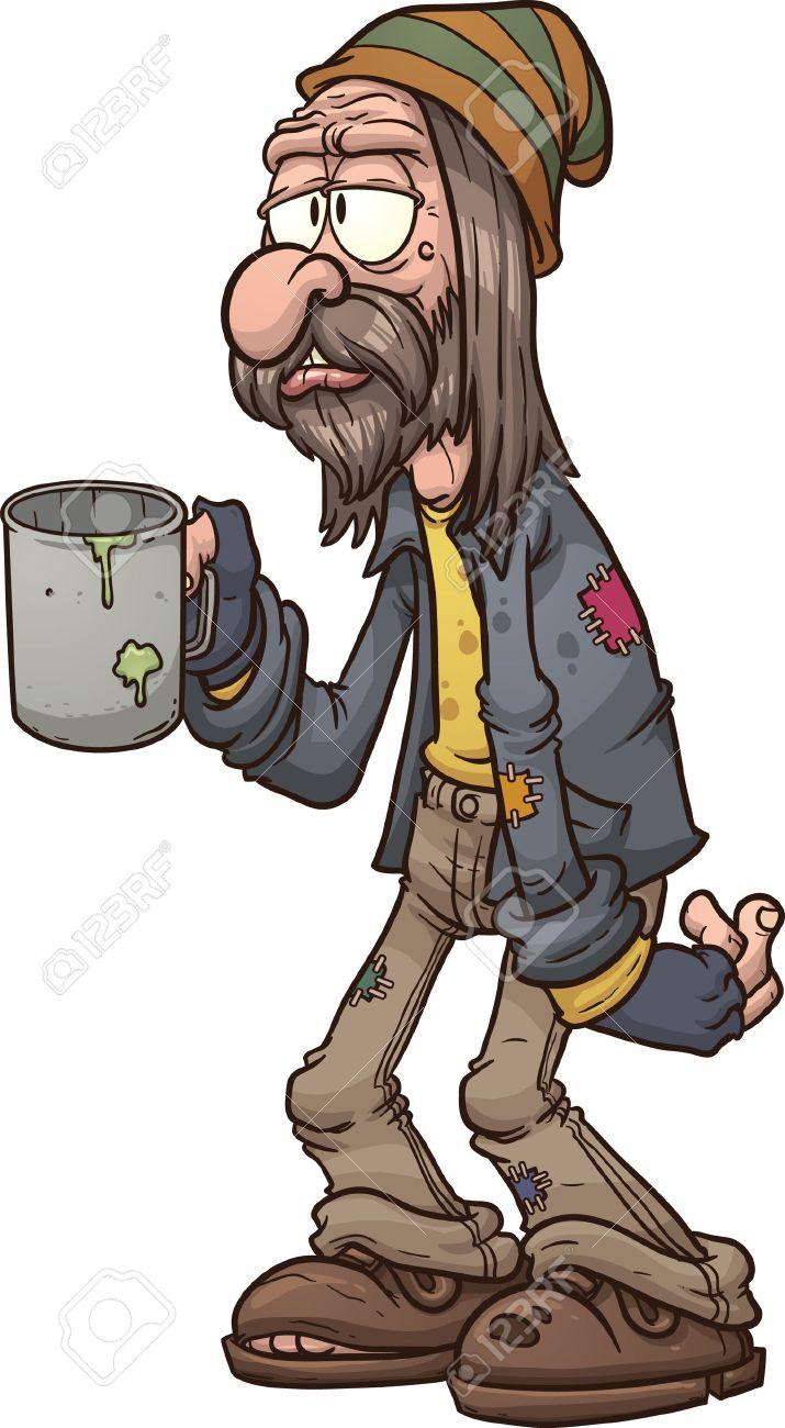 Cartoon beggar clip art illustration with simple gradients All...