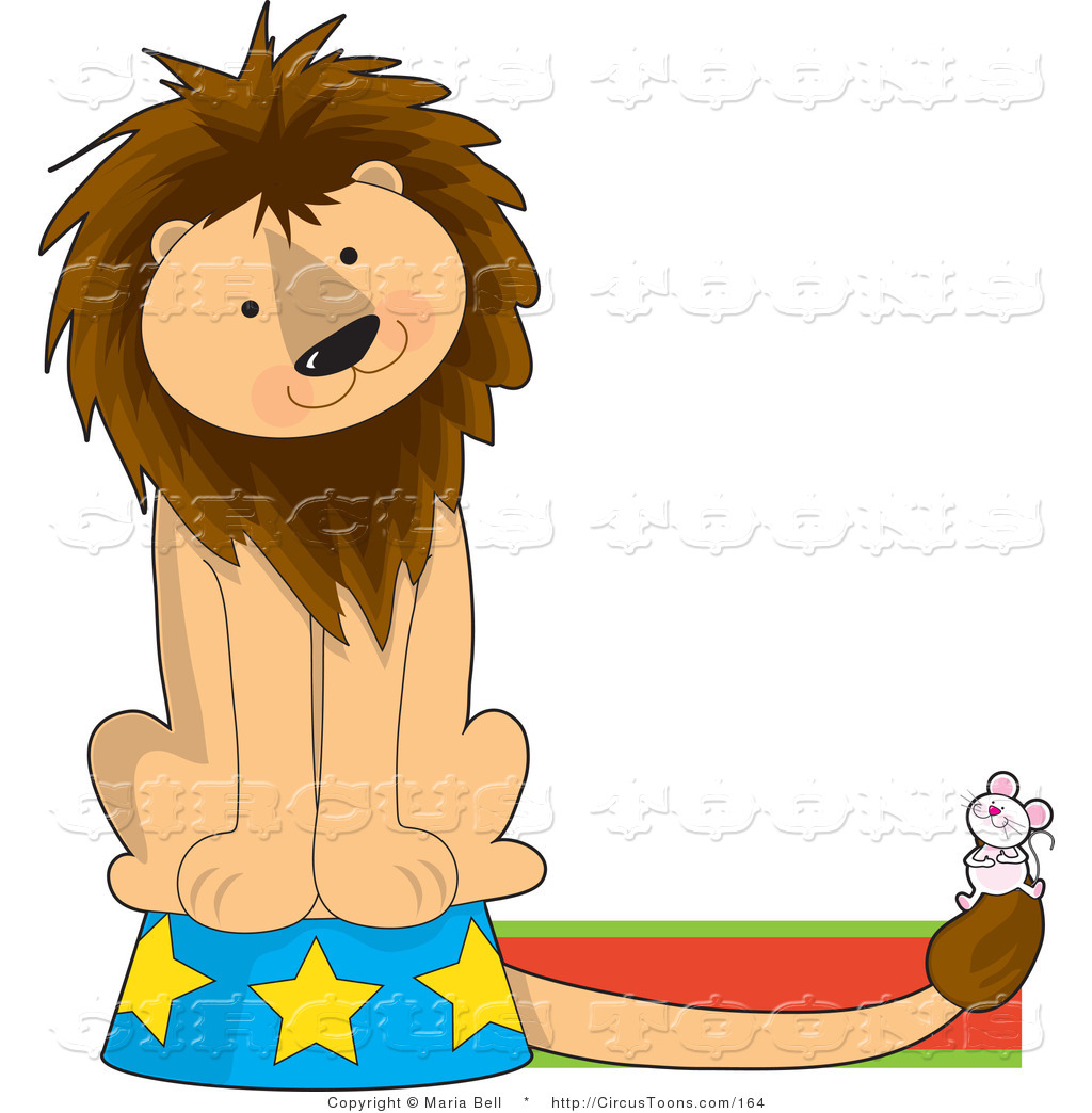 Circus Clipart of a Circus Lion Tilting His Head on a Podium.