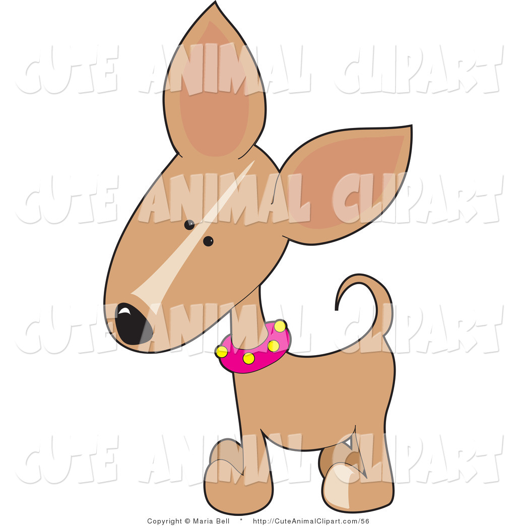 Vector Clip Art of a Cute Tan Chihuahua Puppy Dog Cocking His Head.