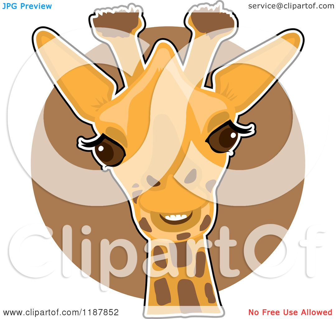 Cartoon of a Cute Happy Giraffe Head over a Brown Circle.