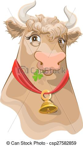 Clipart Vector of Brown head with bell cow chewing clover.