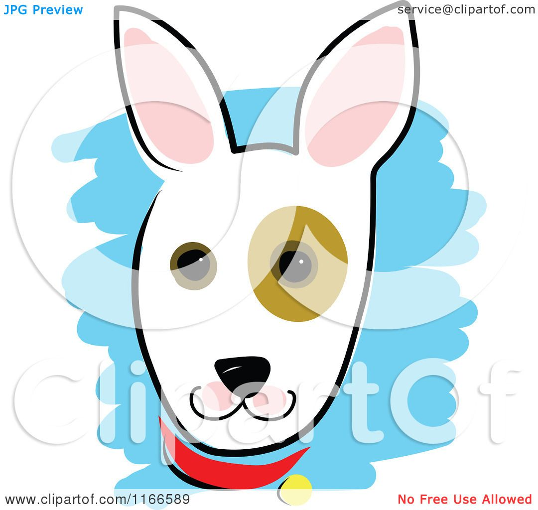Cartoon of a Cute Dog Head with a Spot Around the Eye.